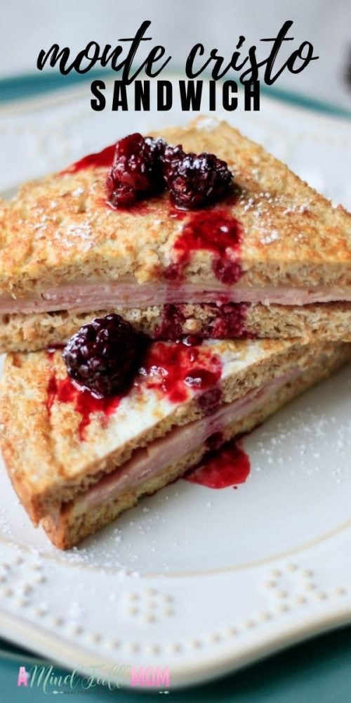 This sandwich is the best way to use up leftover ham! Made with layers of tender ham, gooey cheese and then pan fried in a sweet egg custard, a Monte Cristo Sandwich has all the flavor! It is brunch's version of a ham and cheese sandwich. Serve with a dusting of powdered sugar and fresh blackberry sauce for a breakfast recipe you will never forget!