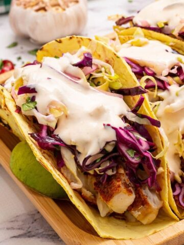 Healthy Fish Tacos on plate