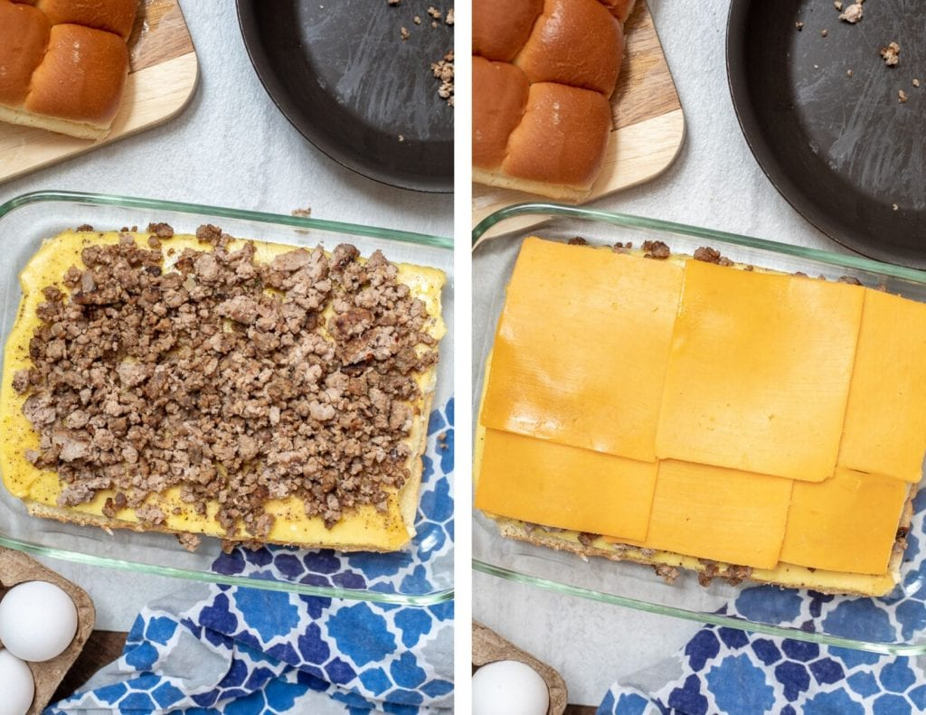 Collage of assembling breakfast slider sandwiches