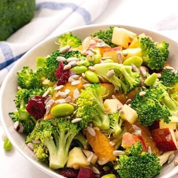 Bowl of Mayo Free Broccoli Salad