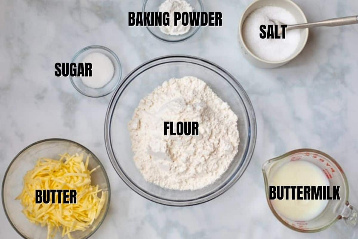 Ingredients for biscuits labeled on counter.