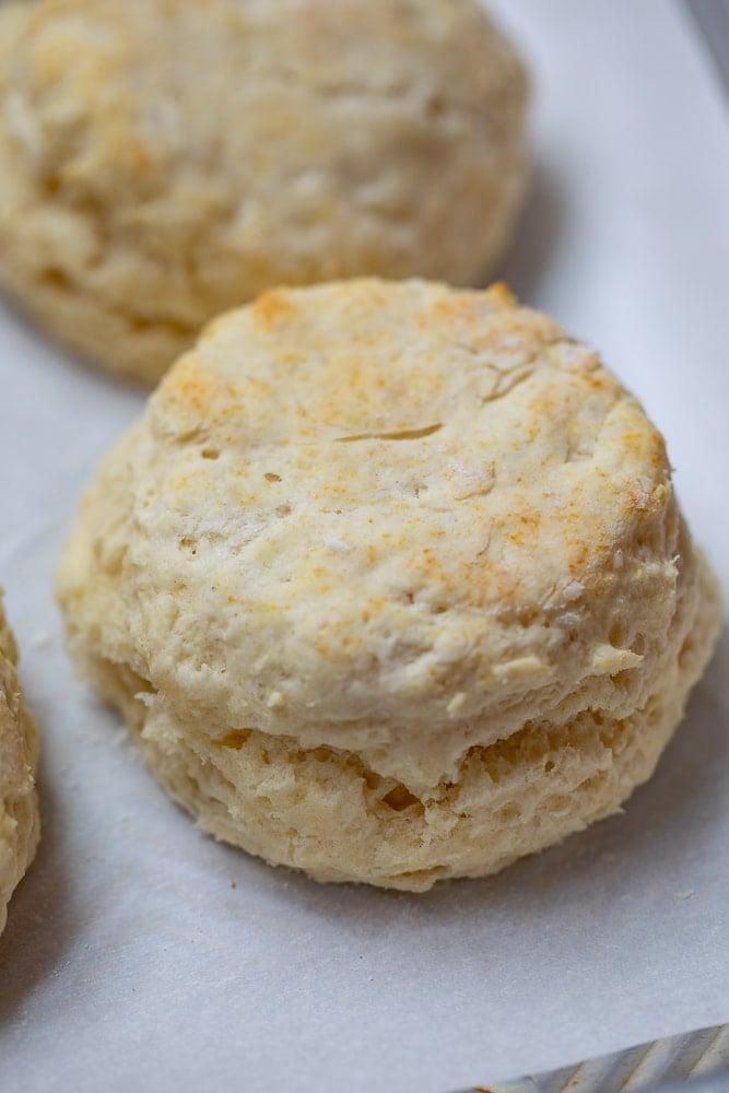 Buttermilk biscuit on parchment paper