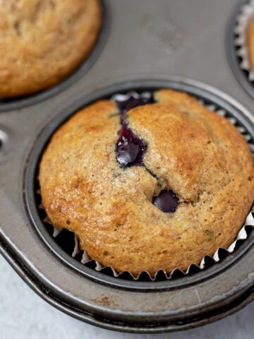 Close up of Blueberry Muffin in sliver muffin tin