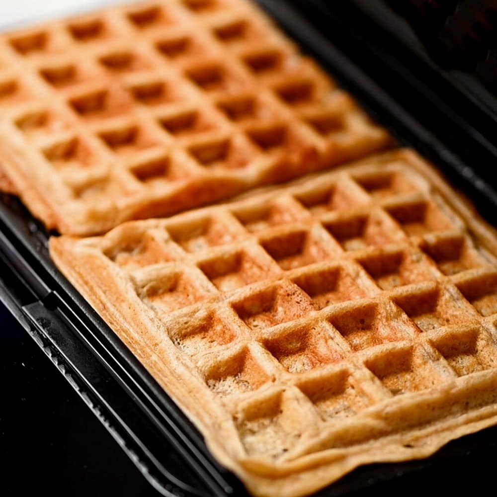 Whole Wheat waffles baked in waffle maker