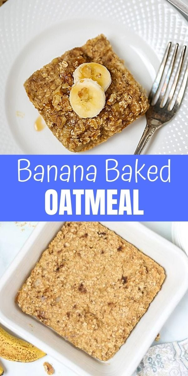 Banana bread and oatmeal combine to make one outrageously delicious breakfast! This Baked Banana Oatmeal is an easy, wholesome breakfast that comes together easily with basic pantry staples.