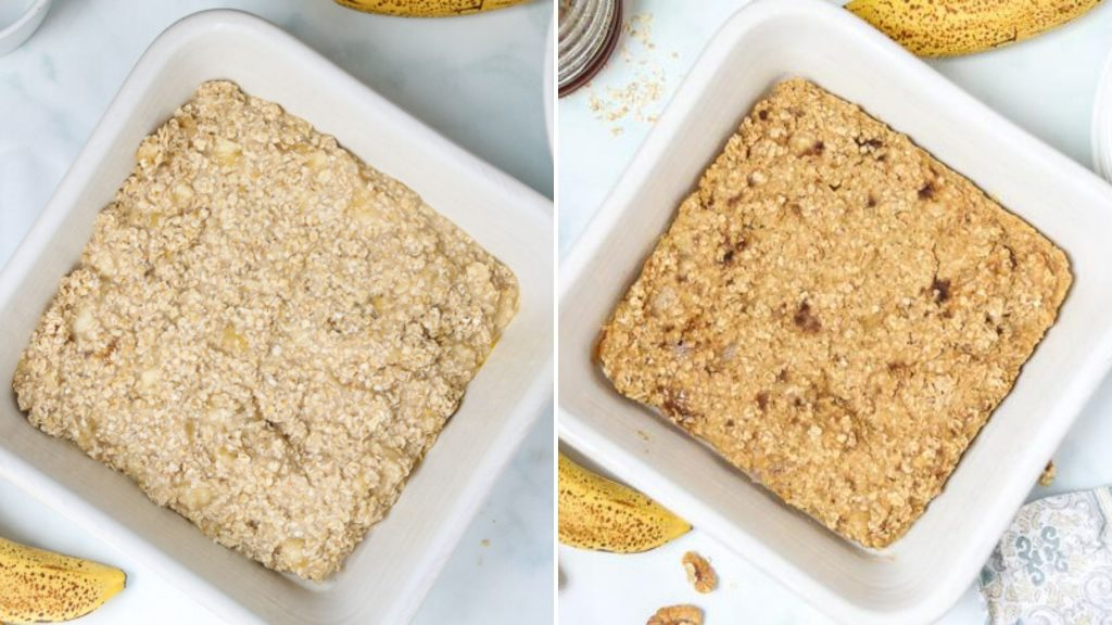 Side by side dish with baked oatmeal in white baking dish