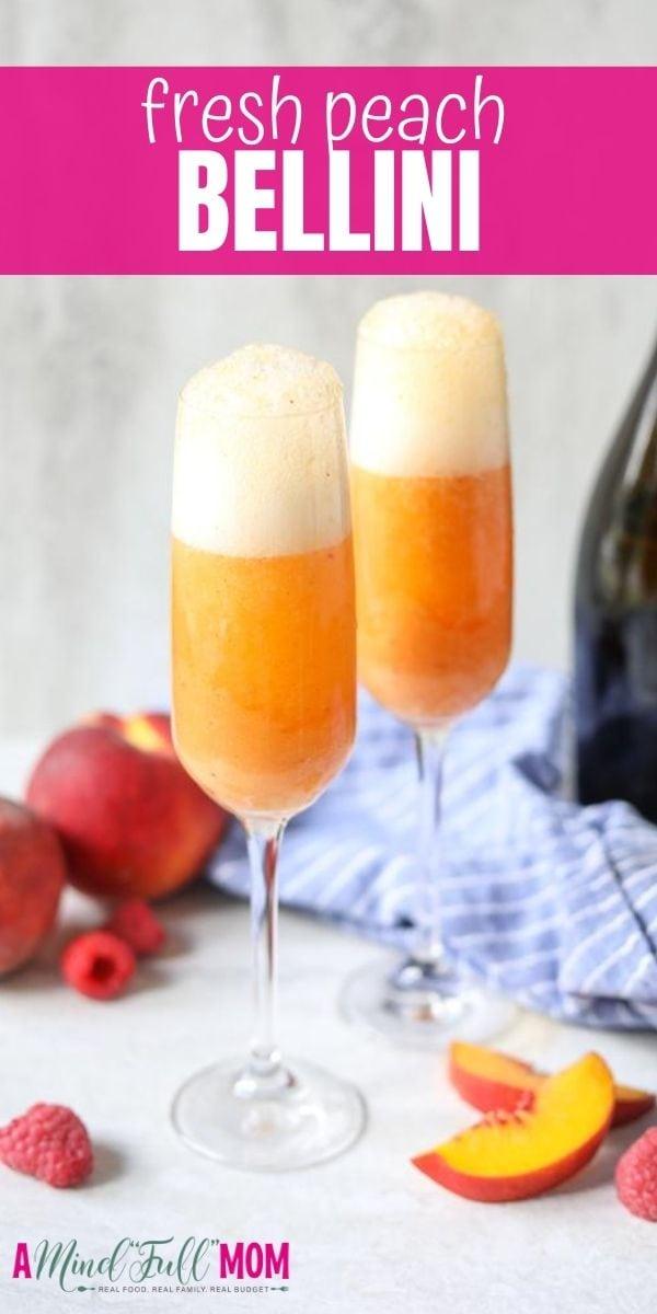 Perfect classic bellini recipe with fresh peach puree.