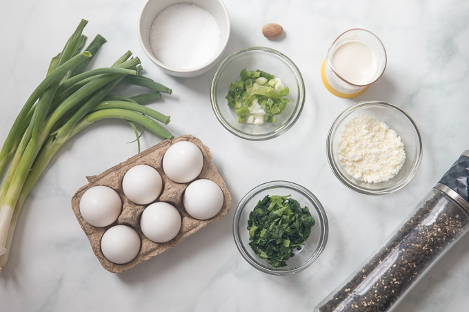 Ingredients fo Instant Pot Frittata on white counter