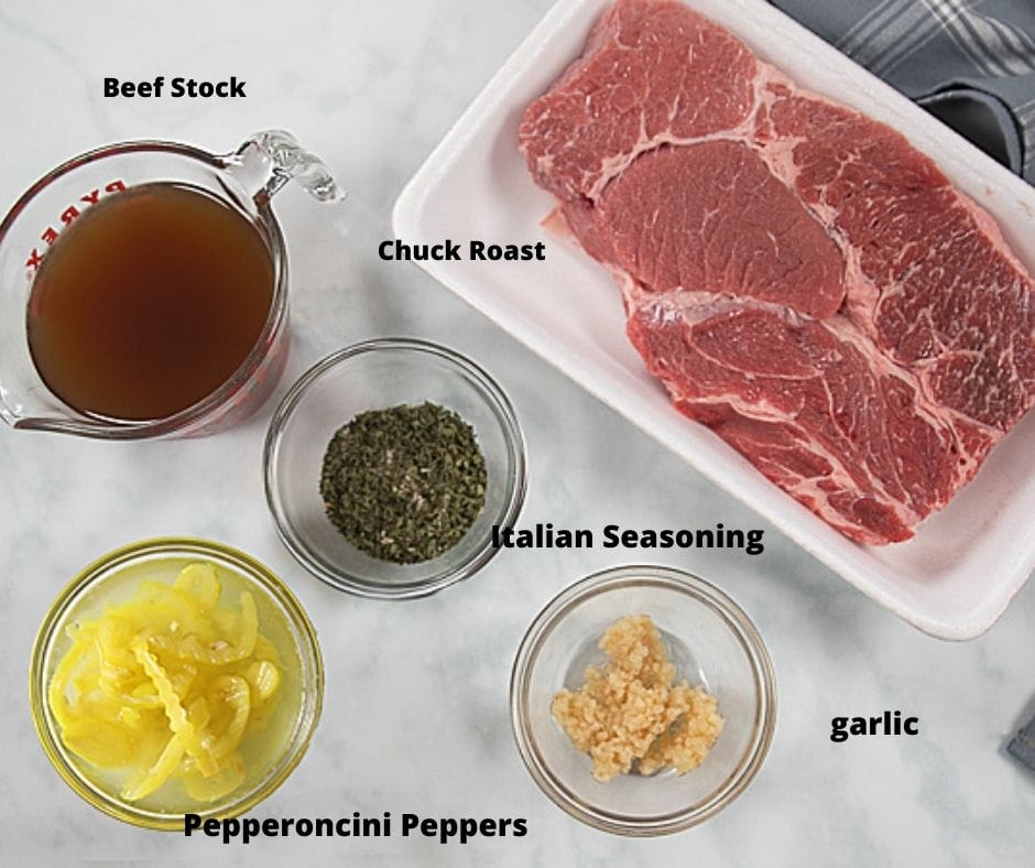 Ingredients for Italian Beef on white counter labeled