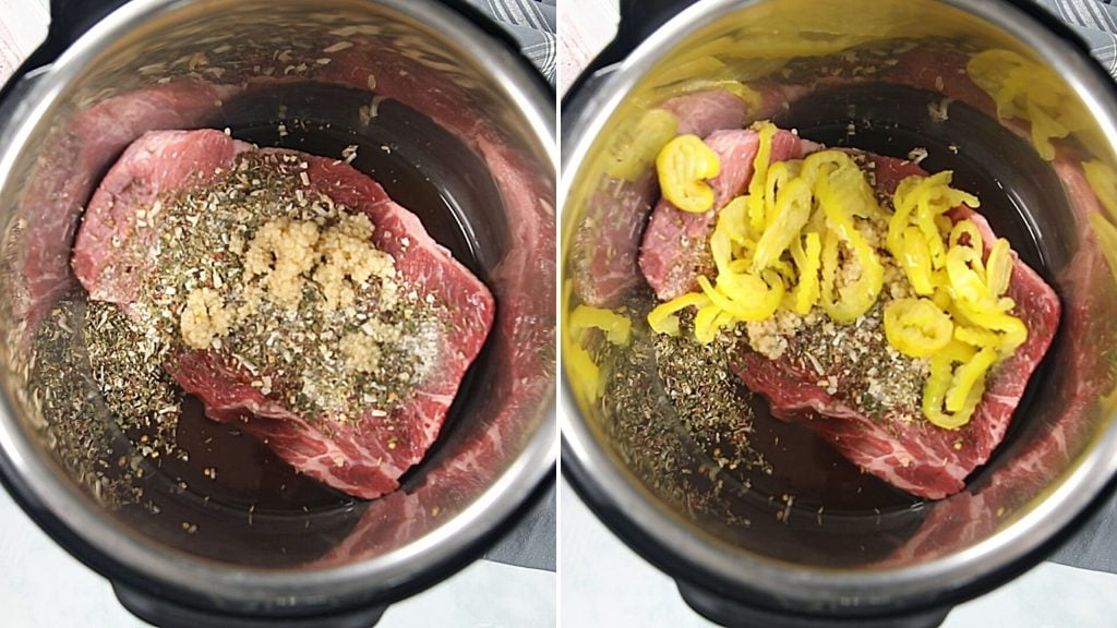 Side by side picture of italian Beef in inner pot of instant pot