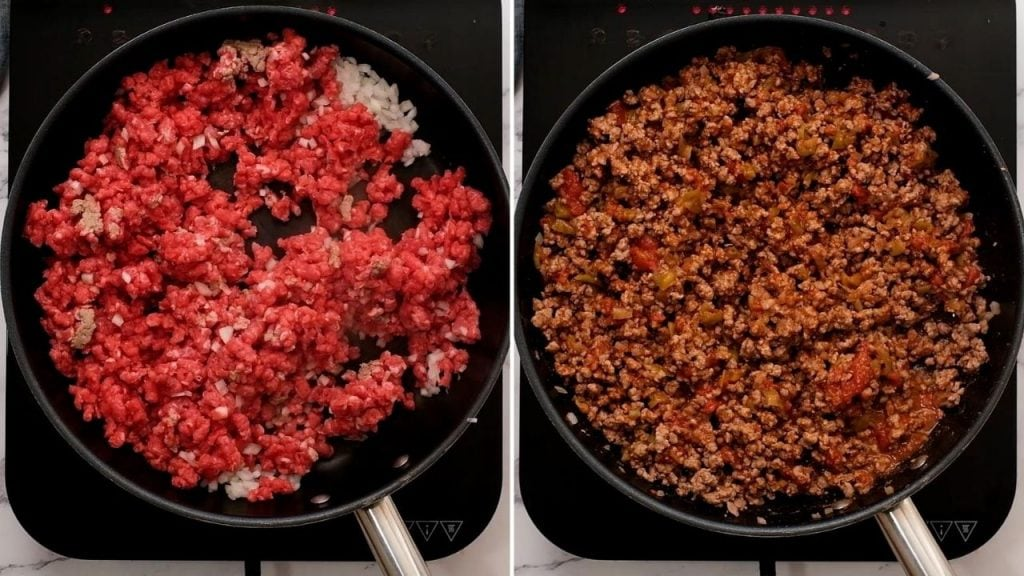 Side by side photos of ground beef in pan before and after being browned