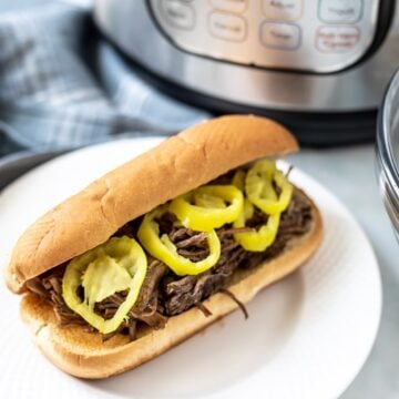 Italian Beef Sandwich next to Instant Pot