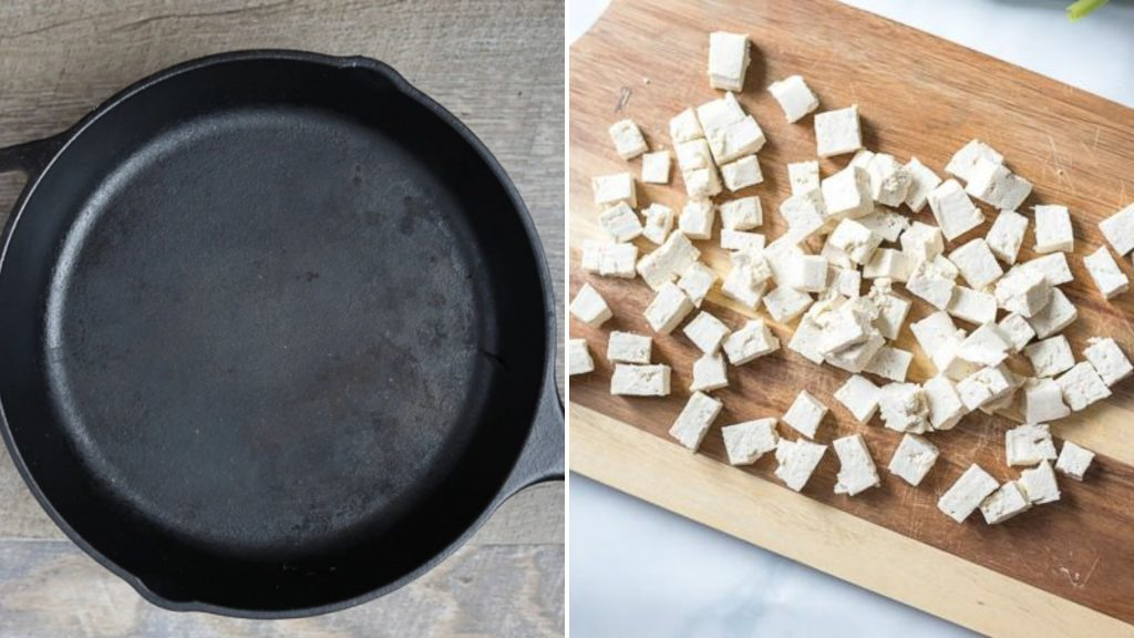 Tofu weighed down with skillet next to picture of tofu cubed into small chunks