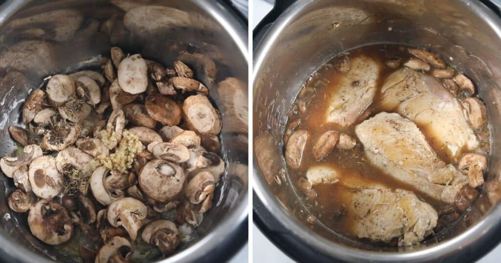 Side by side picture of chicken marsala in inner pot sauteeing mushrooms