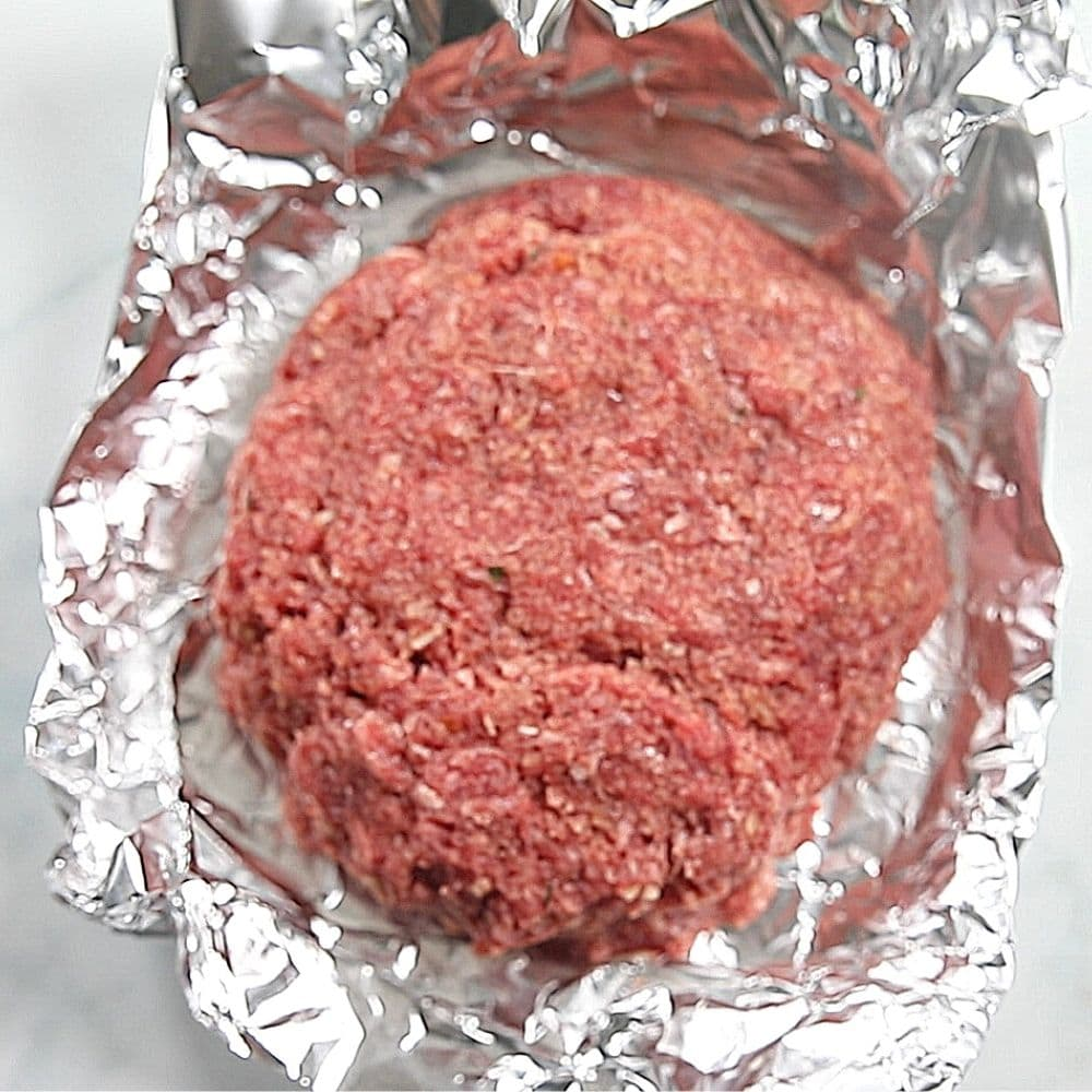 Shaped Meatloat on foil packet