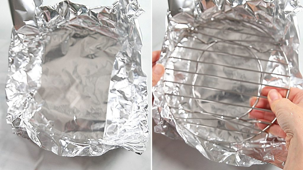 Side by side picture of forming foil boat around rack for instant pot