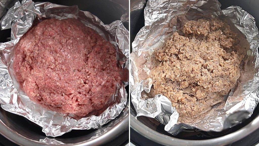 Side by side photo of raw and cooked meatloaf in instant pot
