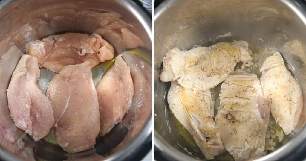 Pictures of chicken searing side by side
