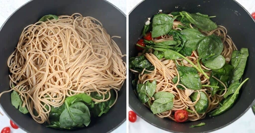 Stock pan with pasta before tossing and picture after tossing with spinach.