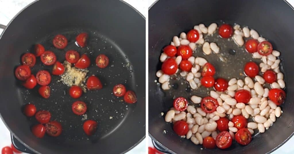 Side by side images of tomatoes and tomatoes and white beans sauteeing in skillet.