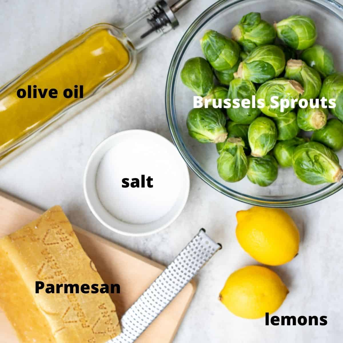 Ingredients for Brussels Sprouts Salad labeled