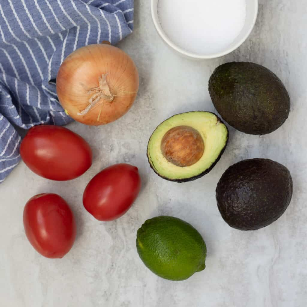 Ingredients for Guacamole on counter