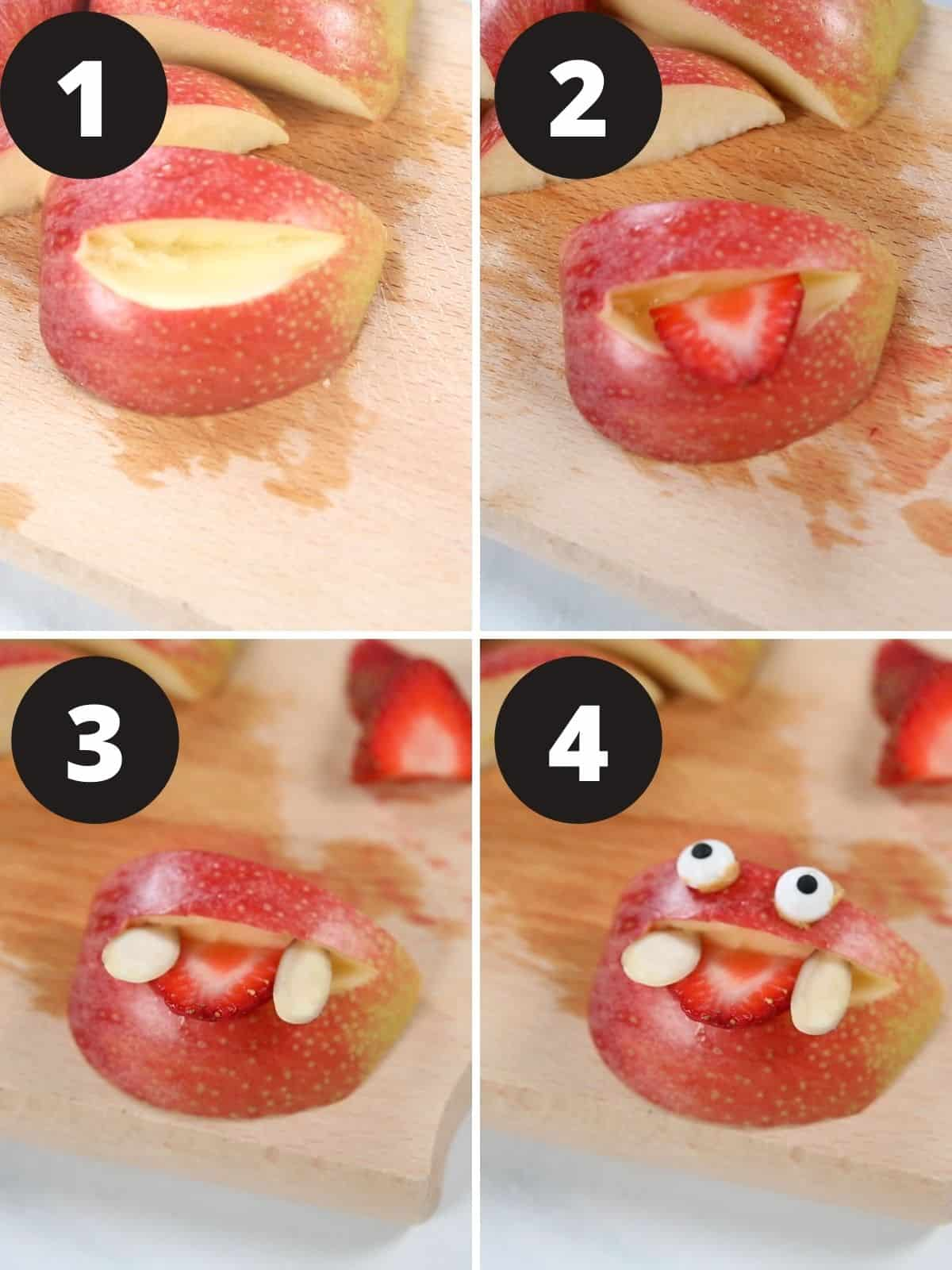 Step by step pictures showing making apple monsters.