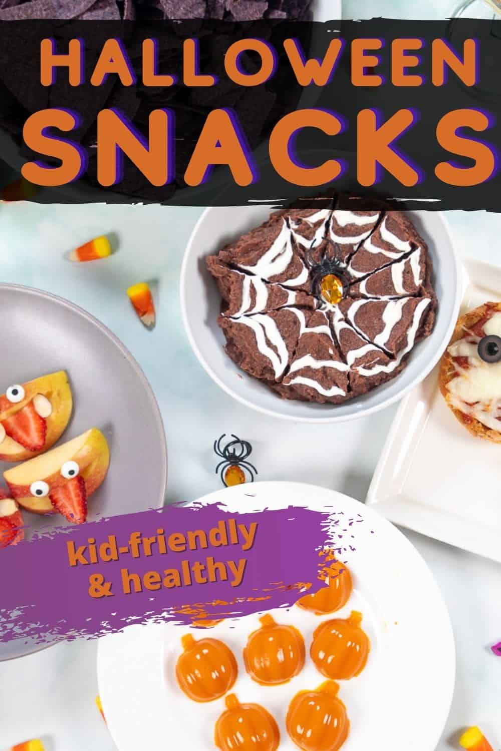 Make Halloween fun with these 5 easy and healthy Halloween snacks! From a Spiderweb Dip to Pumpkin Gummies to Apple Monsters to Mummy Pizzas to Candy Corn Parfaits, these simple festive Halloween Treats are the perfect recipes to add some fun to your fall parties with very little effort required.