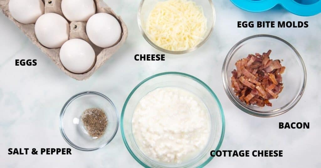 Ingredients for egg bites labeled on white counter
