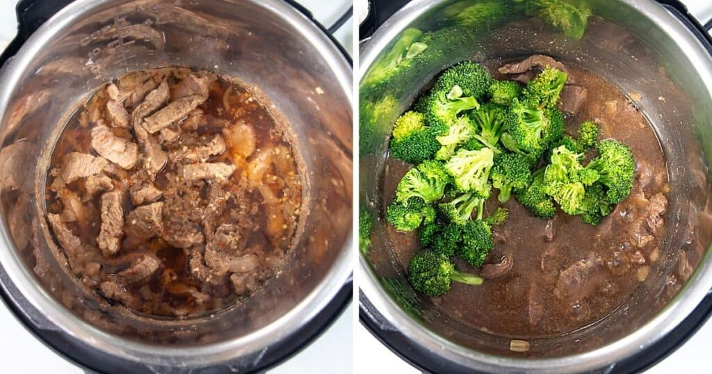 Side by side pictures of cooked instnat pot beef and adding broccoli.