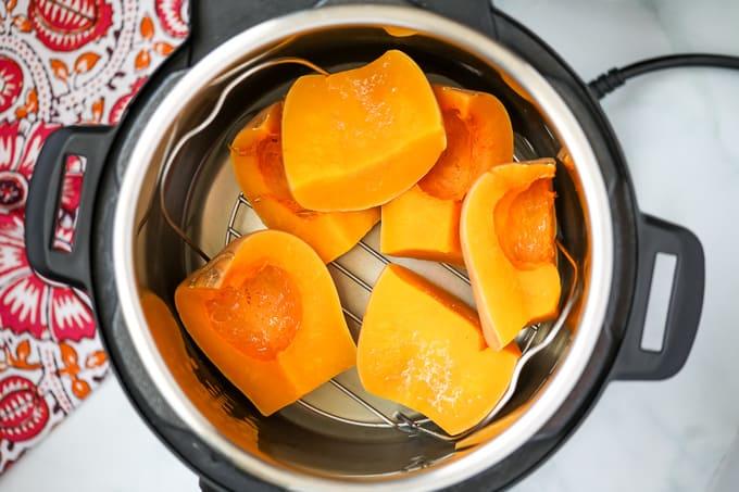 Cut butternut squash on inner rack inside instant pot.