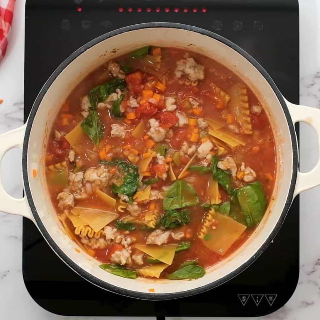 Pan with Lasagna Soup with spinach.