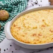 Baked Mashed Potato Casserole in White Casserole Dish