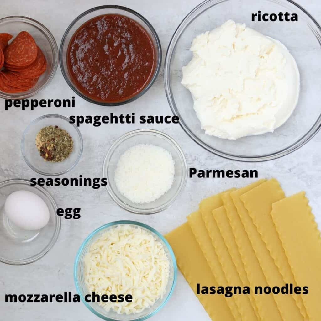 Labeled ingredients for Lasagna Rolls