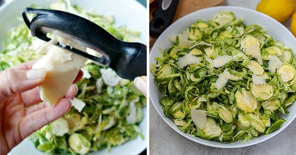 Side by side picture of showing grated parmesan over brussels sprouts salad next to completed salad.