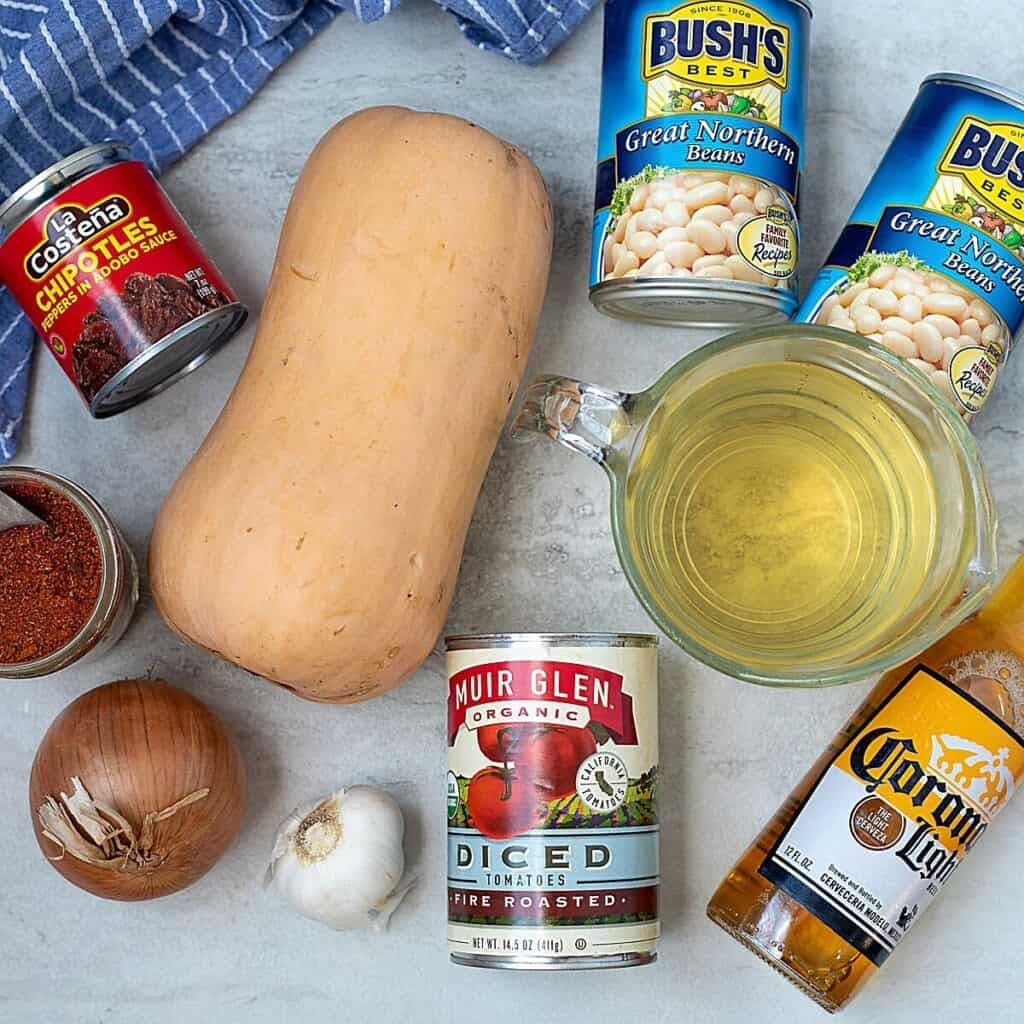 Ingredients for Butternut Squash Chili on counter
