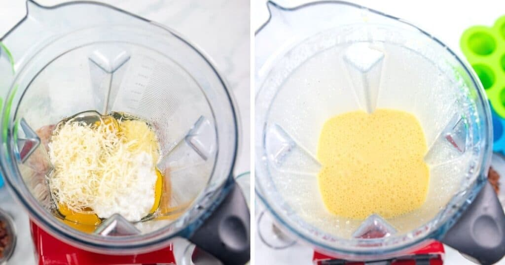 Blender with egg bite ingredients in one picture and the egg mixture blended up in blender.