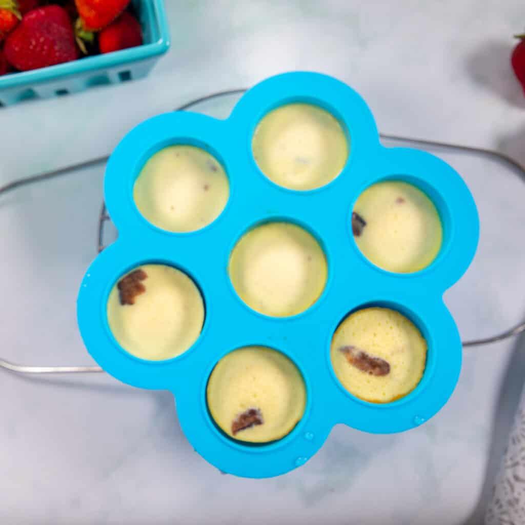 Egg Bites baked in blue egg mold