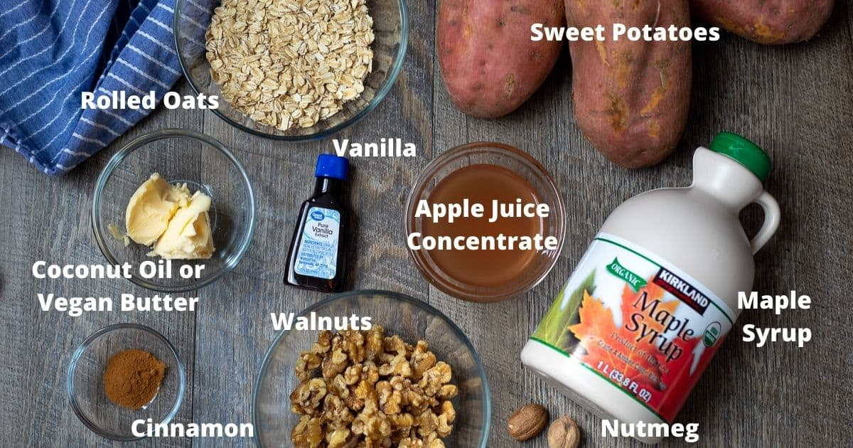ingredients for sweet potato casserole labeled on wooden board.