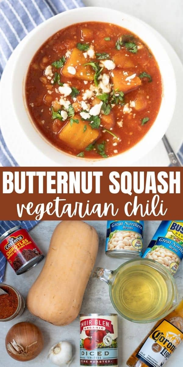 Butternut Squash Chili makes a delicious meatless chili. This hearty, slow-cooker, vegetarian chili is made with butternut squash, white beans, beer and just the right amount of heat. This Vegan Chili is spicy, tangy, creamy, filling and warming to the soul!