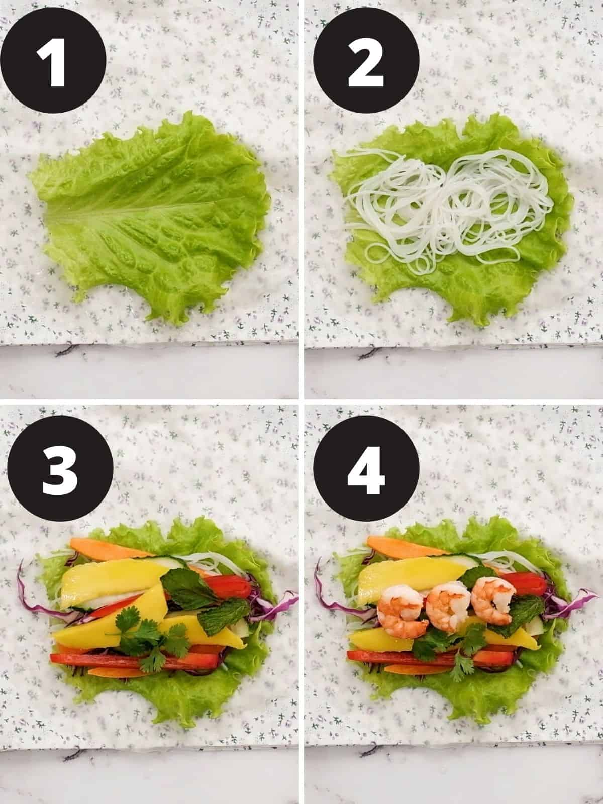 4 Step by step pictures of how to fill a spring roll.