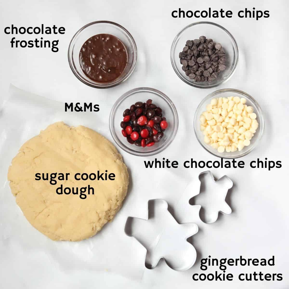 Ingredients for Reindeer Cookies labeled on white counter.