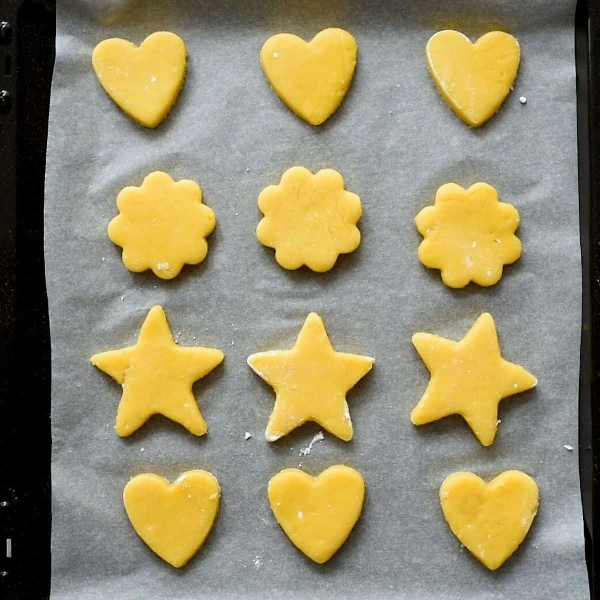 Cut Out Sugar Cookies on baking sheet.