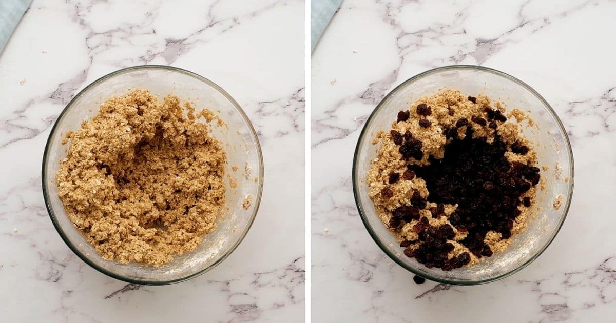 Side by side picture of oatmeal cookie dough before and after adding raisins.