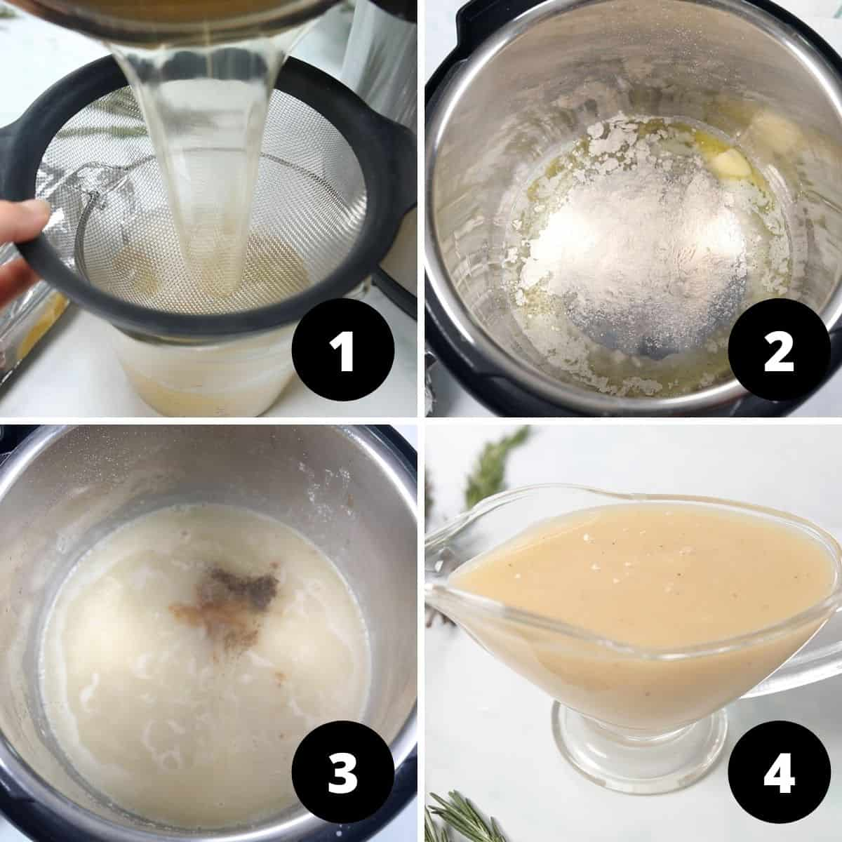 Collage of 4 pictures showing steps to make instant pot gravy.