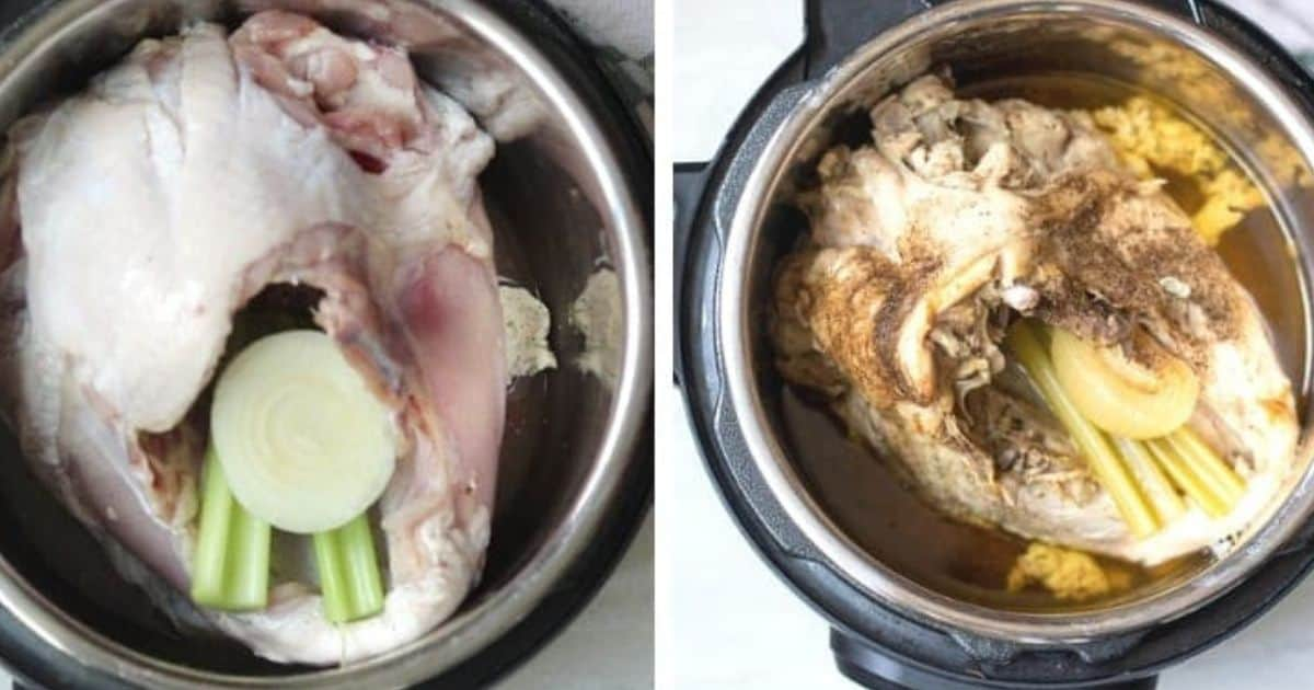Side by side picture of turkey breast raw and cooked in instant pot.