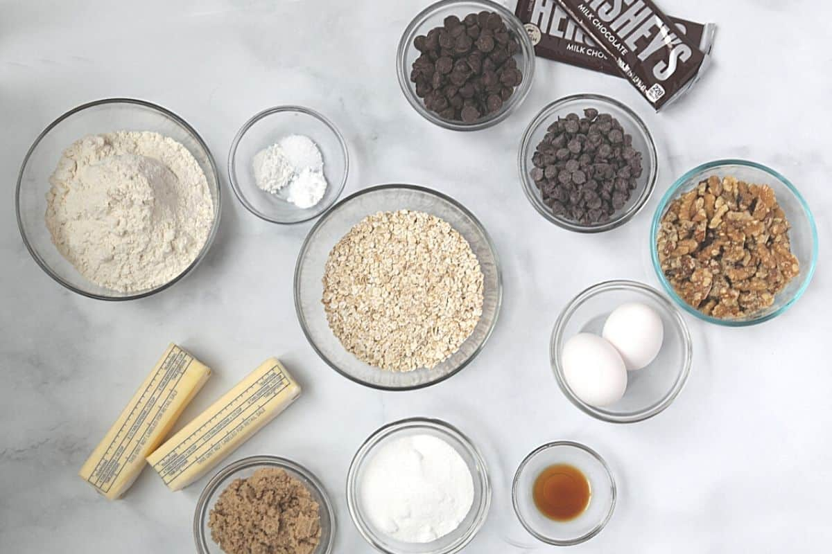 Ingredients for Neiman Marcus Cookies on white counter.