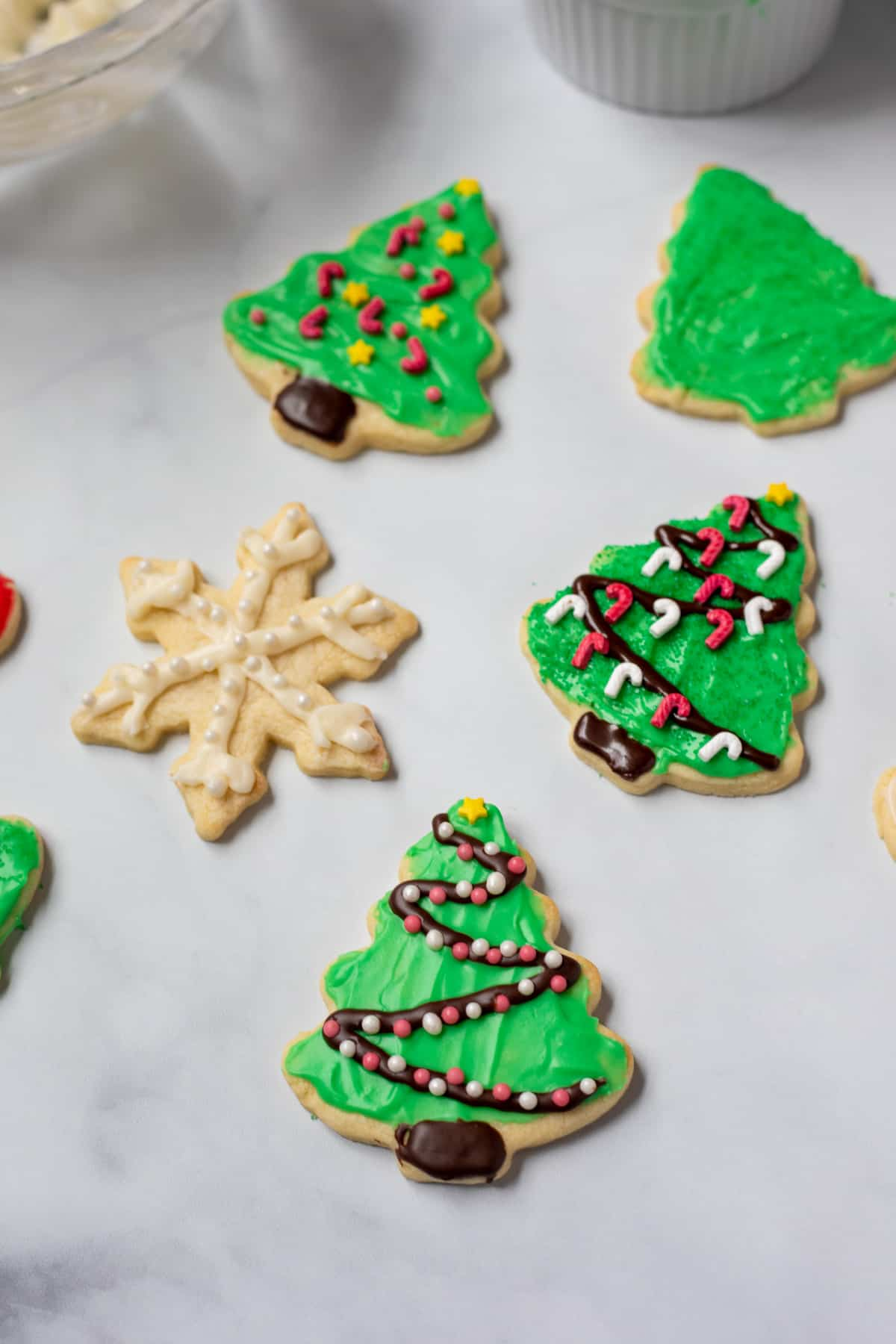 Iced Sugar Cookies on white counter.