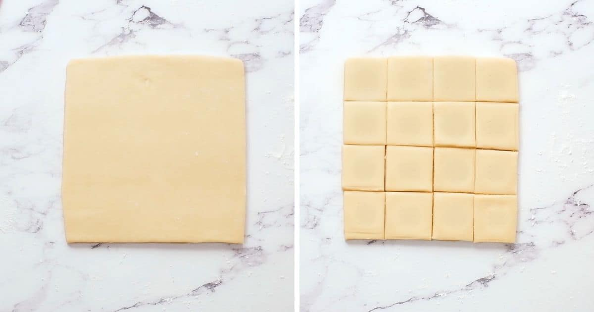 Side by side pictures of shortbread rolled out and shortbread dough cut into 2 inch squares.
