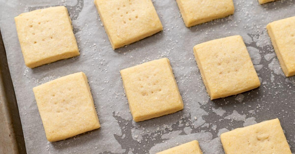Baked Shortbread Cookies on baking sheet.